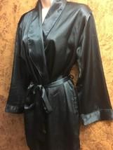 FREDERICKS of Hollywood luxurious satiny silky bath robe teal blue kimon... - ₨2,586.80 INR