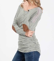 Olive Striped Top, Green Pinstripe Shirt, Long Sleeve Striped Top, Lace Details