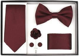 Berlioni Men's Handmade Microfiber Tie Bowtie Lapel Hanky Cufflinks Gift Box Set image 4
