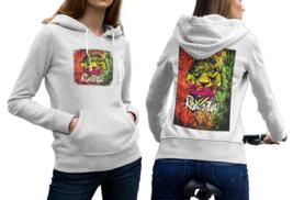 Lion Rasta  White Cotton Hoodie For Women - $29.99+