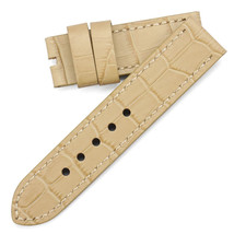 Beige ecru Strap Bracelet Panerai 1940 1950 band 24mm Crocodile leather ... - $39.99
