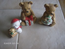 2 Christmas Teddy Bears Homco Home Interior Figurines 5505 & Puppy 5254 - $4.99