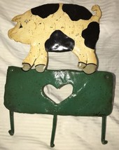 Metal Enamel PIG Wall Mount Key Ring 3 Hook / Leash Holder / Hanger Folk... - $19.79