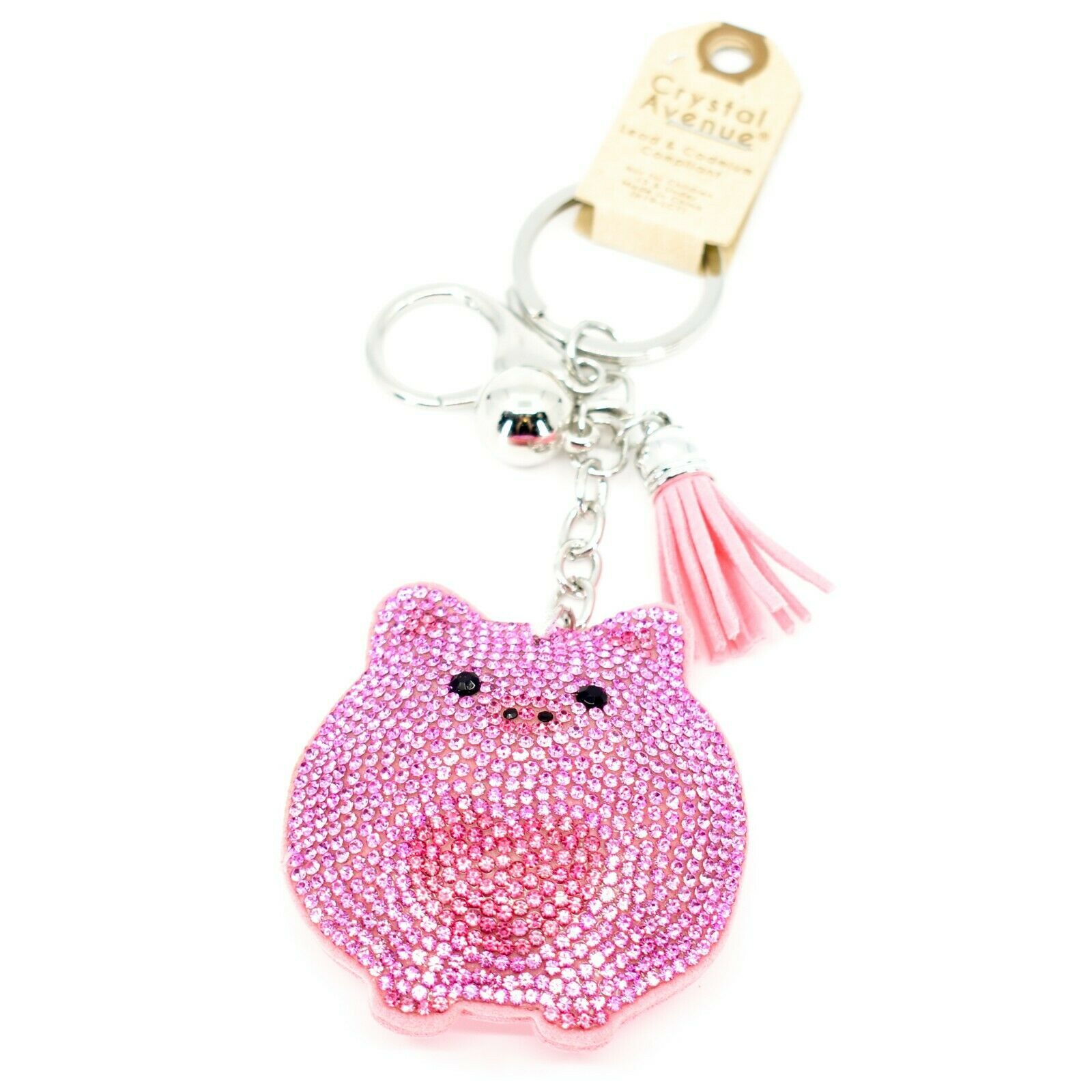 Pave Crystal Accent 3D Stuffed Pillow Pink Heart Pig Keychain Key Chain