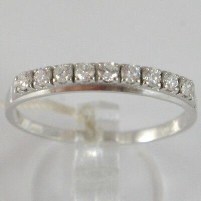 Bague en or Blanc 750 18K, Veretta 9 Diamants Carat en Tout 0.28, Tige Plat