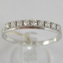 Bague en or Blanc 750 18K, Veretta 9 Diamants Carat en Tout 0.28, Tige Plat image 1