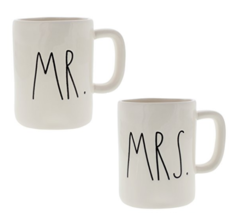 """Rae Dunn Artisan Collection by Magenta """"MR. & MRS."""" Coffee Mugs Set of Two  - $43.53"""