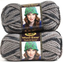 2 Lion Brand Wool-Ease Thick & Quick 6 Super Bulky 519 Raven Washable Yarns - $16.99