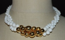 NAPIER White Acrylic Graduated Bead Beaded Gold Tone Choker Necklace Vin... - $24.75