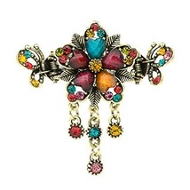 Retro Luxury Aulic Style Crystal Bronze Alloy Hair Claws, Flowers(multicolor) image 2
