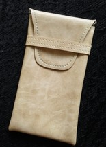 Eyeglass Case Pouch IVORY COLOR Soft Synthetic Leather with closure - $3.91