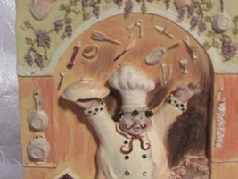 "ceramic 3d wall plaque set of 1 depictiong A HAPPY CHEF approx 6.5 x 4.75"" - $11.30"