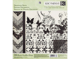 K&Company Black and Ivory Designer Paper Pad 8.5 x 8.5 Inches #30-148765