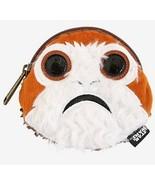 Star Wars Disney The Last Jedi Faux Fur Porg Face Zip Coin Purse - $18.31