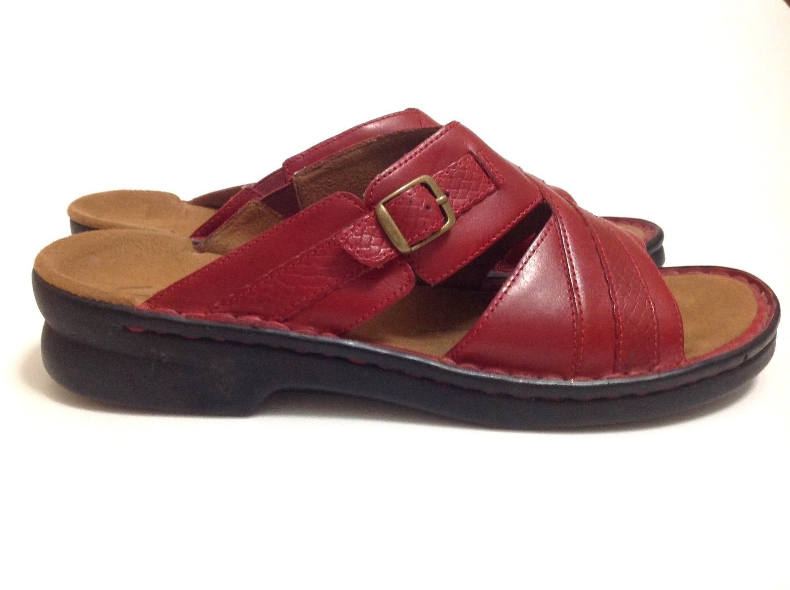 113e32fbf CLARKS RED LEATHER Womens Slides Slip On Sandals Comfort Sz 11 Croc Accent  -  33.65