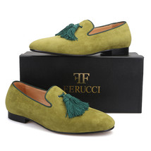 Handmade Men FERUCCI Green suede with Big Green Tassel Slippers loafers ... - $169.99