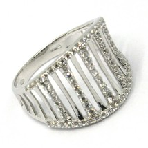 SOLID 18K WHITE GOLD BAND RING, MULTI WIRES, CUBIC ZIRCONIA, MADE IN ITALY image 1