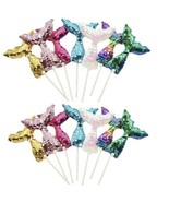 28pcs Mermaid Tail Reversible Sequin Cupcake Toppers, Under The Sea Part... - $24.01