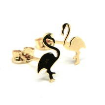 Gold Earrings 18K 750 Shaped Flamingo to Sheet Glossy Made in Italy image 2