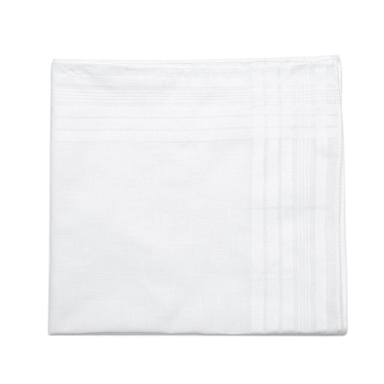 """Classic Mens Handkerchiefs 100% Cotton Solid White with Stripe 17"""" Large 12pc image 4"""