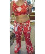 Next to Love... Art Large Red White Pants Wrap Around Top Stretchy Dance... - $65.00