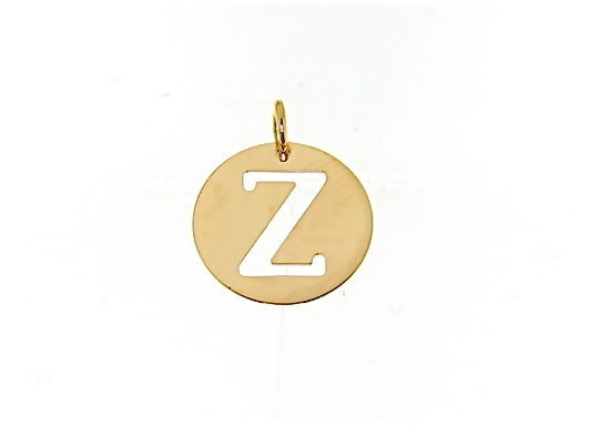 18K YELLOW GOLD LUSTER ROUND MEDAL WITH LETTER Z MADE IN ITALY DIAMETER 0.5 IN