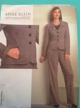Anne Klein Pattern V1063 Jacket Pants Suit Fitted 6 8 10 12 Uncut New Vogue - $13.25