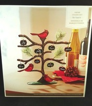 Drink Charm Set Pier 1 Imports Metal Stand Christmas Tree Birds Noel Pea... - $14.99