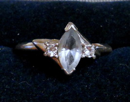 Avon Cocktail Ring Silver Tone w/ Ice Blue Marquise & Rhinestone size 5 ... - $19.75