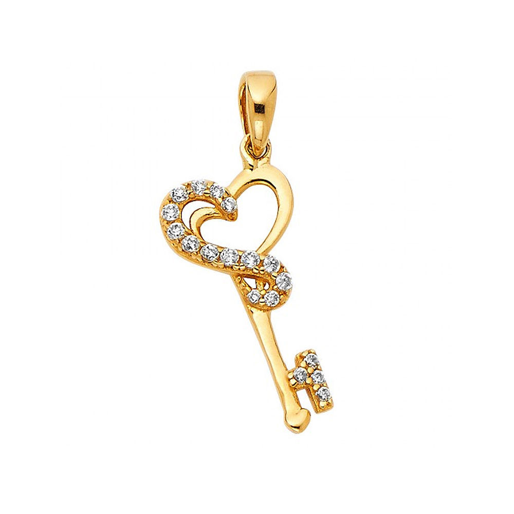 14k Yellow Gold Cubic Zirconia Key to My Heart Pendant