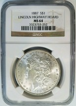 1887 Silver Morgan Dollar NGC MS 64 Lincoln Highway Hoard Collection Ped... - $119.99