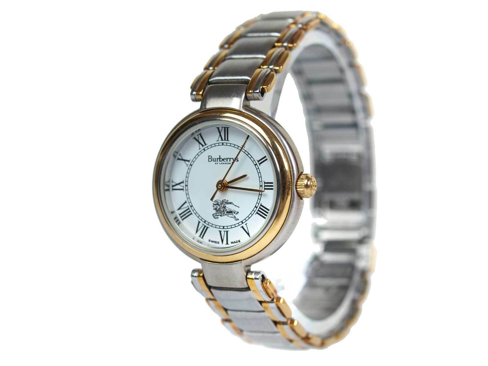 Auth BURBERRY 8000 White Dial Gold Plated Band Quartz Women's Watch BW6953L