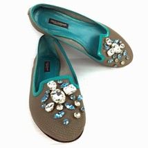 DOLCE & GABBANA Gray Mesh and Turquoise Leather Bejeweled Flats Size 6 (US) - $74.24