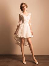 Elegant High Low Wedding Dress Lace White Tulle Short Country Wedding Go... - $115.00