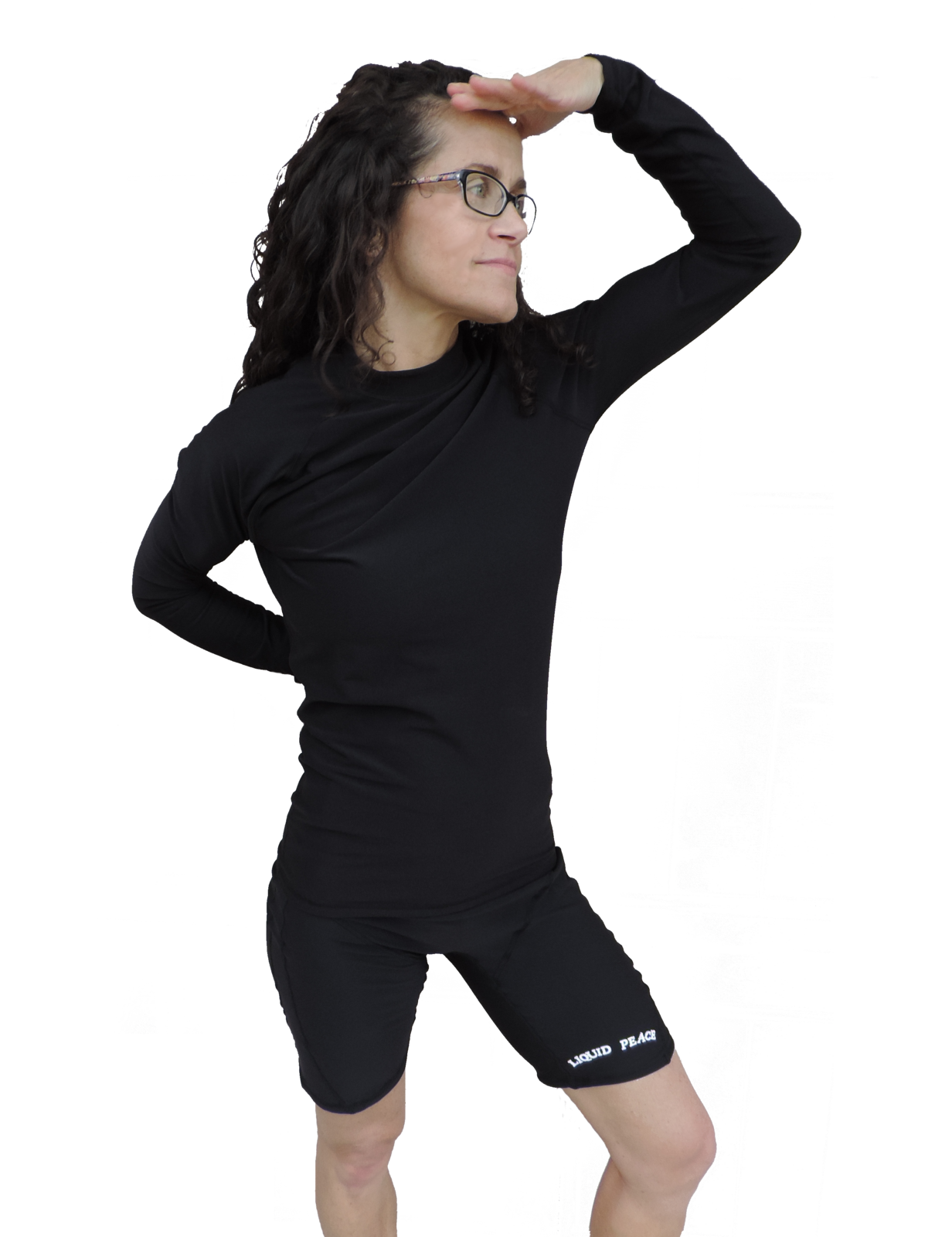 Women's Black Poly Fleece, Thermo, Long Sleeve Rash Guard-No logo, Sale