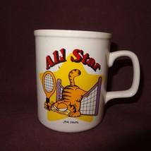All Star Garfield Tennis Coffee Mug 11 oz Cup  Ceramic Jim Davis 1978 - $14.89