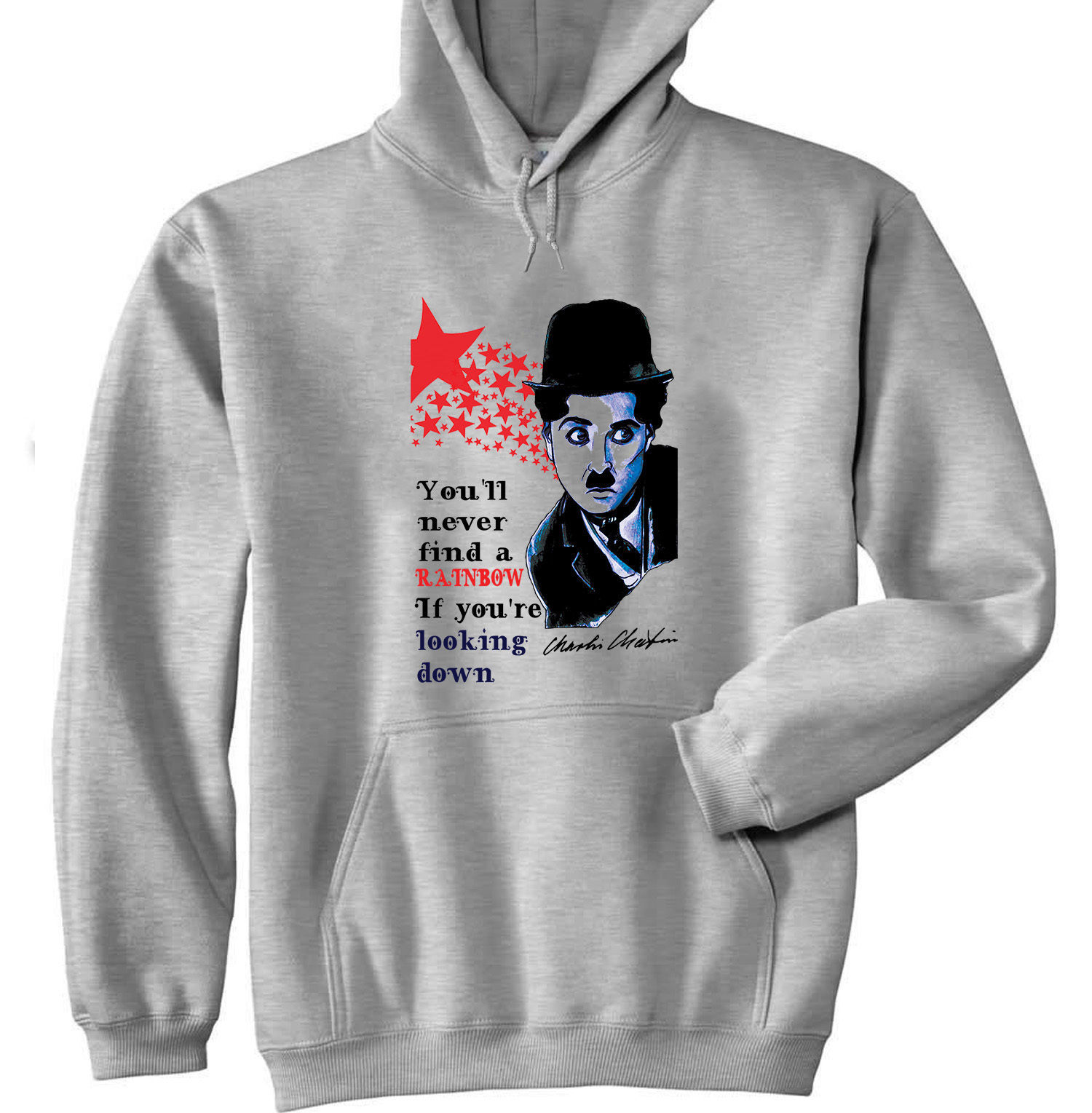 CHARLIE CHAPLIN NEVER FIND - NEW COTTON GREY HOODIE
