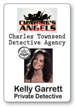 KELLY GARRETT CHARLIE'S ANGELS NAME BADGE TAG HALLOWEEN COSPLAY MAGNET BACK - $14.84