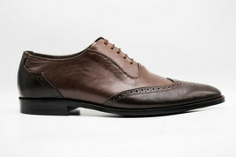 Handmade Men's Brown Two Tone Wing Tip Brogues Dress/Formal Oxford Leather Shoes image 1
