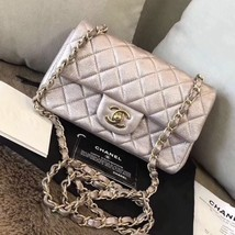 684b36654dcf AUTH Chanel Iridescent Pearly Pink Quilted Calfskin Large Mini 20CM Flap  Bag - $2,999.99