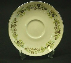 "Vanity Fair by Royal Doulton 6-1/8"" Saucer Plate Green Leaves & Scrolls TC1043 - $8.90"