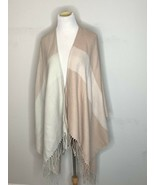Soia and Kyo Woven Scarf Cardigan Fringe Poncho Wrap Sweater Open Beige OS - $29.95