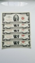 1963 $2 RED SEAL NOTES CONSECUTIVE (5) CH CRISP UNCIRCULATED - $50.00