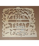 "Halloween Wooden Plaques Crafts Creatology 8"" x 8"" Skulls Trick Or Treat... - $3.49"