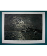 GERMANY NAVY Night Torpedo Division Attack - COLOR VICTORIAN Era Print - $12.15