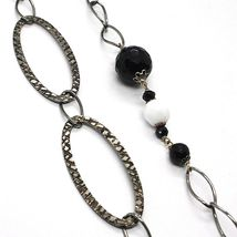 Silver necklace 925 Burnished, Onyx, Roach, Length 100 CM, Oval Chain image 3