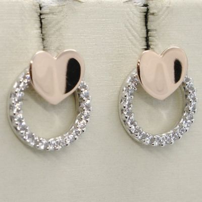 WHITE GOLD EARRINGS AND PINK 18K WITH HEARTS WITH ZIRCON CUBIC MADE IN ITALY