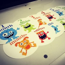 Monthly baby stickers. Cute monsters bodysuit infants month labels. - $7.99