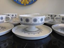ROSENTHAL TAPIO WIRKKALA 6 ICE BLOSSOM 1960S PEDESTAL CREAM SOUP CUP & S... - $155.00