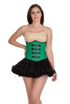 Green Leather Goth Steampunk Bustier Costume & Tutu Skirt Underbust Corset Dress - $89.09+